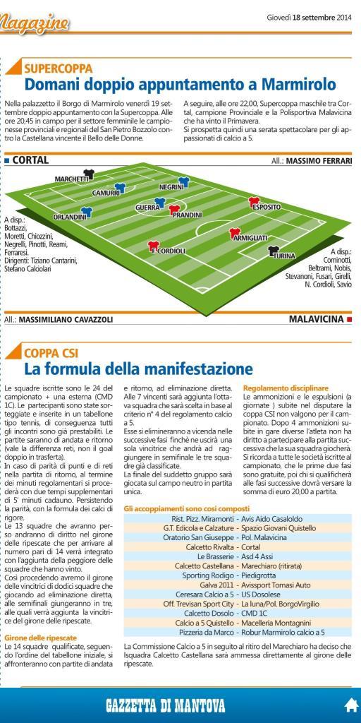 Articolo Calcio a 5, nuova squadra di Quistello