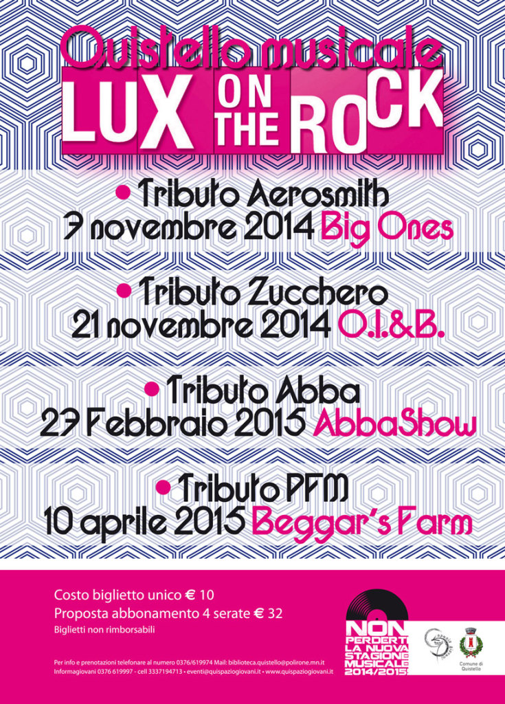 Manifesto concerti Lux on the Rock 2014/2015