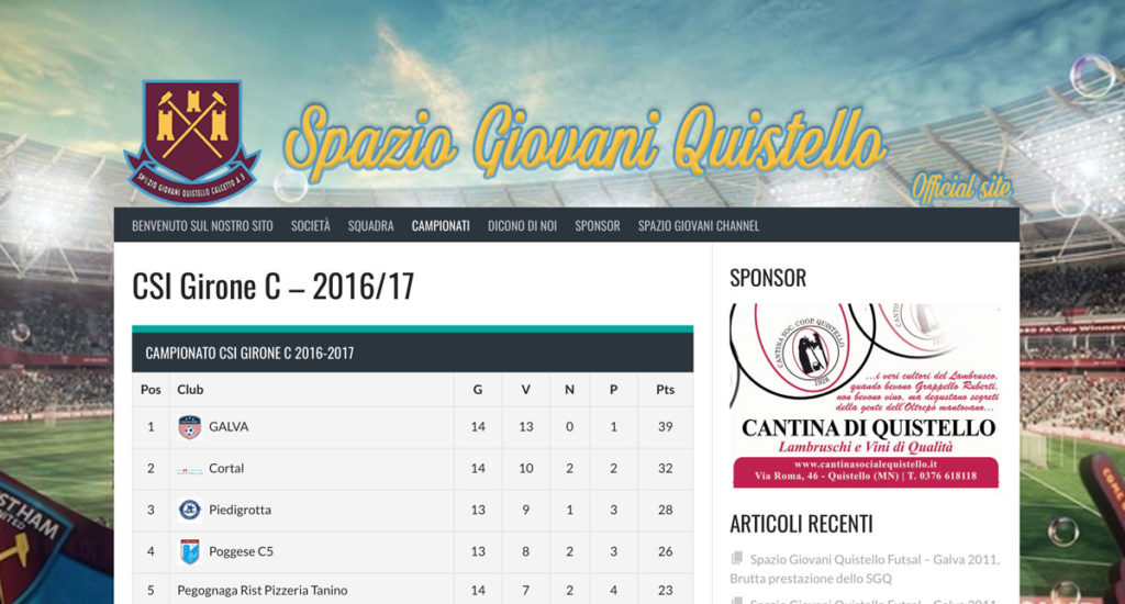 Visita il nuovo sito web di Spazio Giovani Futsal CSI Calcio a 5